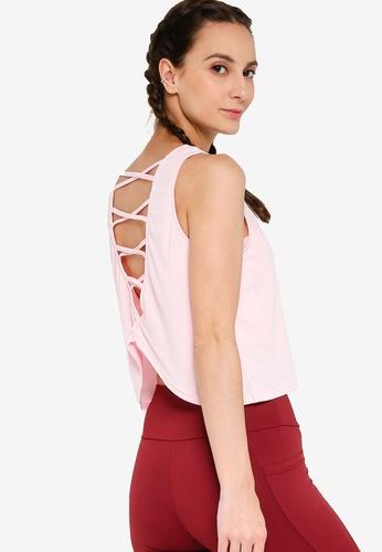 ZALORA ACTIVE pink Asymmetrical Hem Criss Cross Muscle Tee 4721CAA6FCE7BCGS_1