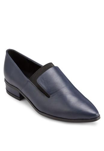 彈性帶esprit 童裝拼接尖頭低跟樂福鞋, 女鞋, 厚底高跟鞋