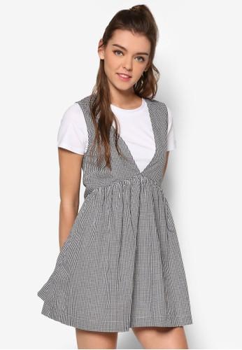 格紋拼接短袖連身裙,esprit 高雄 服飾, 洋裝