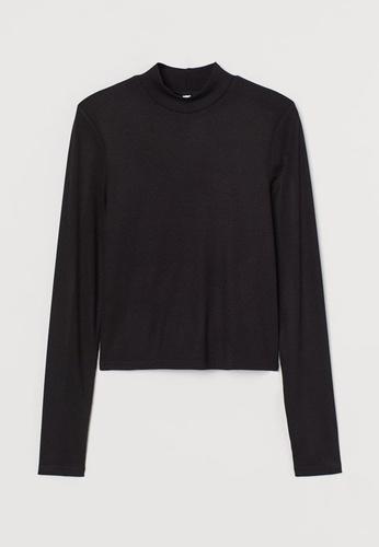 H&M black Stand-Up Collar Top EADE3AA950AC3CGS_1