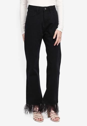 Zalia black Feathered Straight Cut Jeans 6CDCCAA33DB6EEGS_1