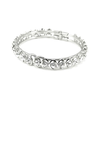 Glamorousky silver Elegant Bangle with Silver Austrian Element Crystal 57C1DACBEB60BEGS_1