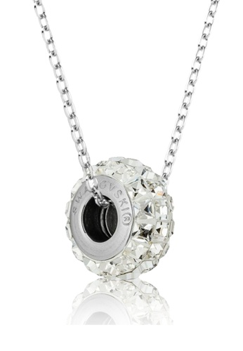 Her Jewellery white and silver BeCharmed Pave Slim Bead Pendant (Crystal Square) - Made with premium grade crystals from Austria 071B4AC223335FGS_1