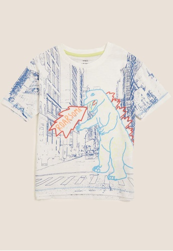 MARKS & SPENCER white M&S Cotton Embroidered Dinosaur T-Shirt (2-7 Yrs) 71D81KA718D0FFGS_1