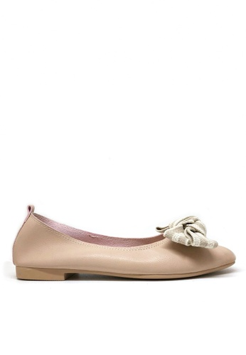Twenty Eight Shoes beige Bow Non lining Flats 1140-75 BF656SH6D5E5FFGS_1