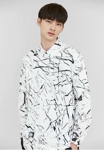 Life8 white Life8 x Daniel Wong Embroidery Marbled Shirt-03670-White LI283AA98EQVSG_1