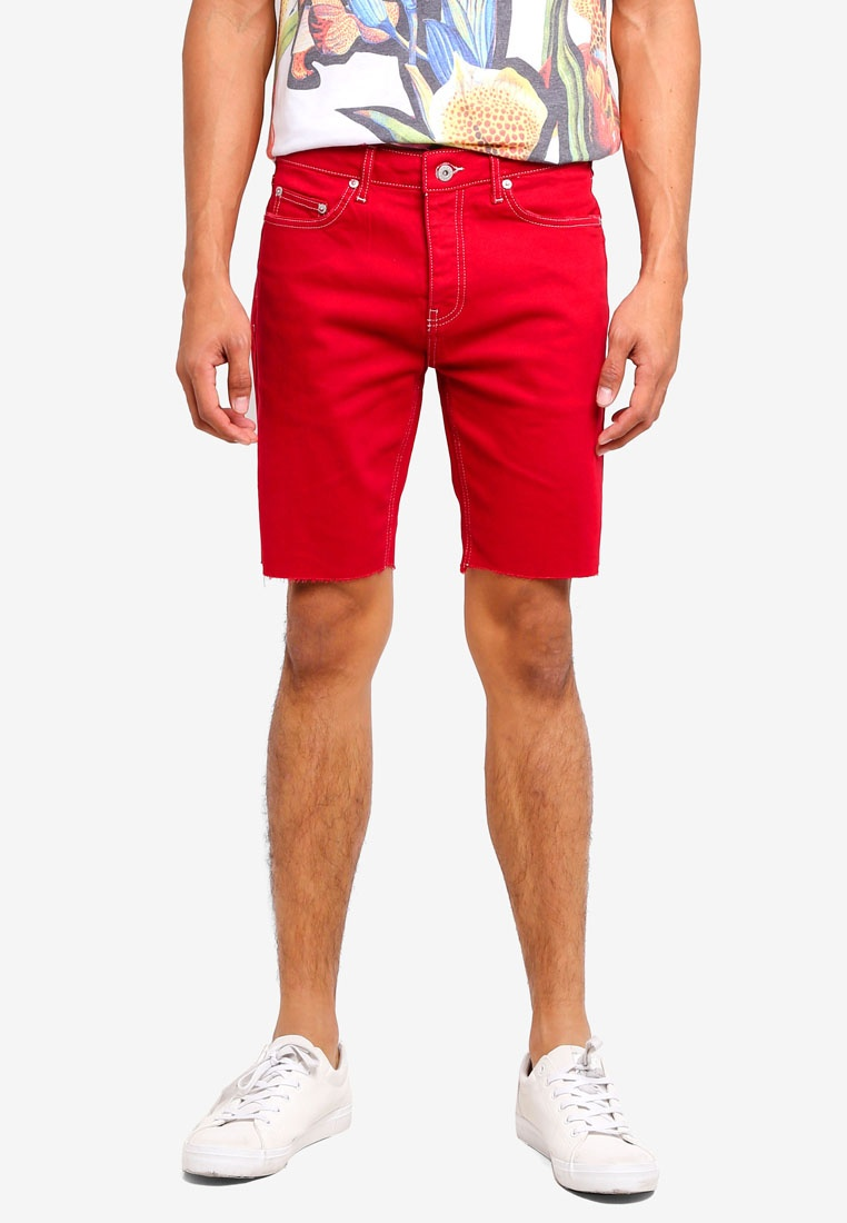 Topman Shorts Red Red Denim Skinny Stretch pxIqS