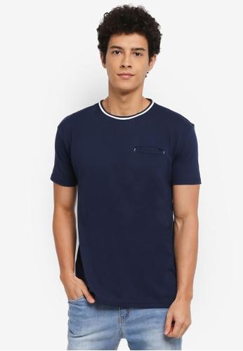 Penshoppe 藍色 休閒短袖口袋T恤 4BD42AA76CB103GS_1