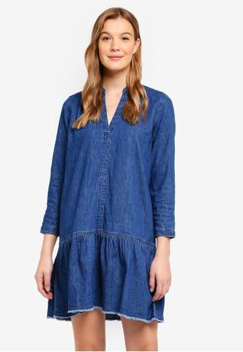 Gap Blue Long Sleeve Popover Drop Waist Dress In Denim 5be49aa26c07a9gs 1