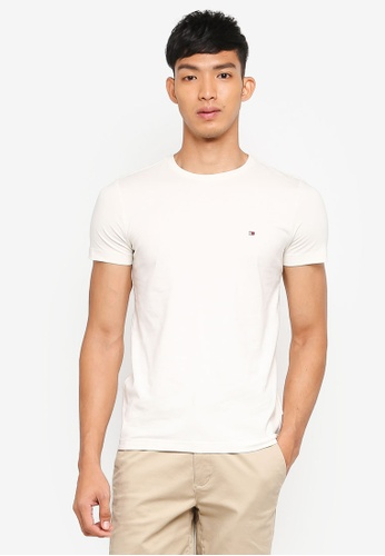 Tommy Hilfiger beige STRETCH SLIM FIT TEE A2C87AA77CE675GS_1