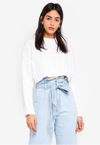 MISSGUIDED white Cable Crop Batwing Knitted Jumper 4EE6BAAD9C20AEGS_1