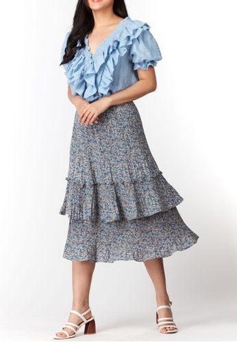 What To Wear blue Tiered Pleated Prints Skirt in Blue 5583BAA3C032AAGS_1