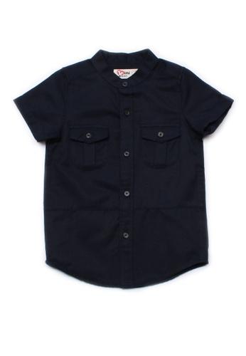 Mini Moley navy Brushed Cotton Twin Pocket Short Sleeve Shirt 8F74DKA5551016GS_1