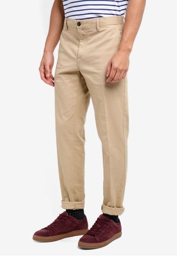 United Colors of Benetton 米褐色 素面斜口袋修身長褲 260E4AA0AE0D9AGS_1