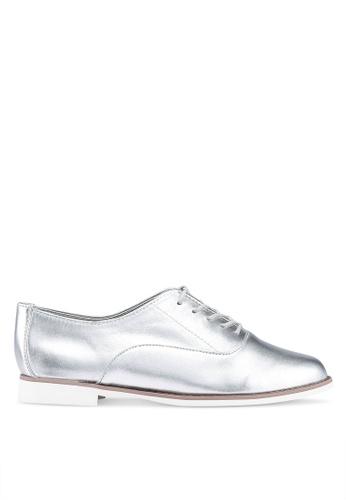 ALDO 銀色 金屬感綁帶德比鞋 1C4FBSHDD77846GS_1