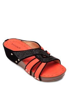 閃飾撞色楔形涼鞋