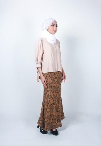 Ladies Jeans brown Elegant Flower Printed Skirt 44F98AACF48A11GS_1