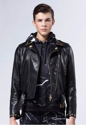 Life8 x Daniel Wong。鉚釘經典騎士夾克-0esprit 工作3675-黑色, 服飾, 外套