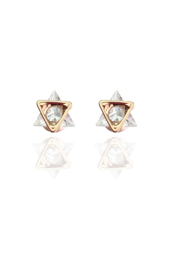 Memento Collection white Simple Triangle Detailed Earrings ME060AC78VHDMY_1