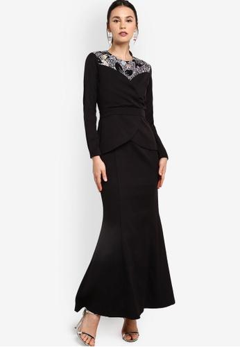 Zalia black Heart Neckline Wrap Dress DF542AA095E071GS_1
