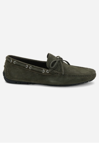 Earnest & Collective green Parker Olive Suede Driving Loafers 6D3E3SHA09C765GS_1
