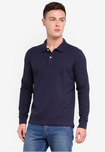 OVS 黑色 Cotton Long Sleeve Polo Shirt 6188DAA6CB6C24GS_1