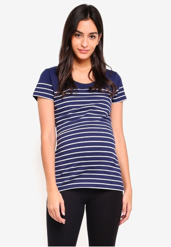 JoJo Maman Bébé navy Maternity Stripe Nursing T-Shirt DABF3AA224AAE1GS_1
