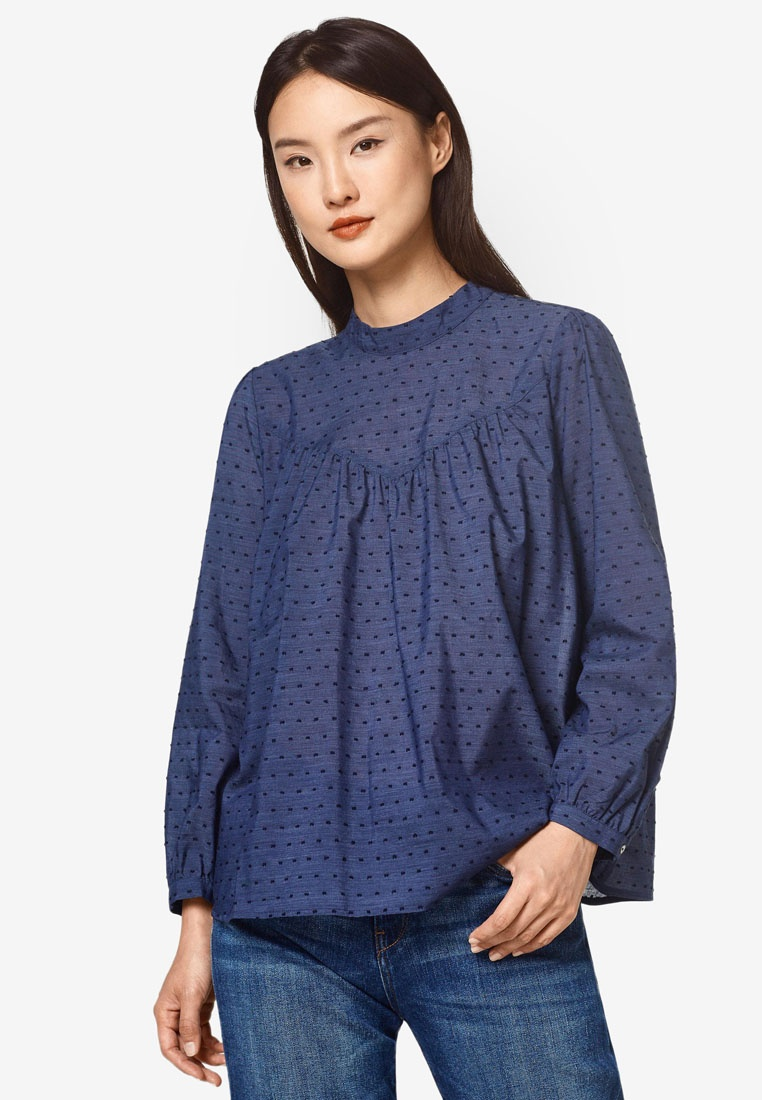 Polka A Collar Navy Woven And ESPRIT Blouse Dots Band With RqxEwOnnI0
