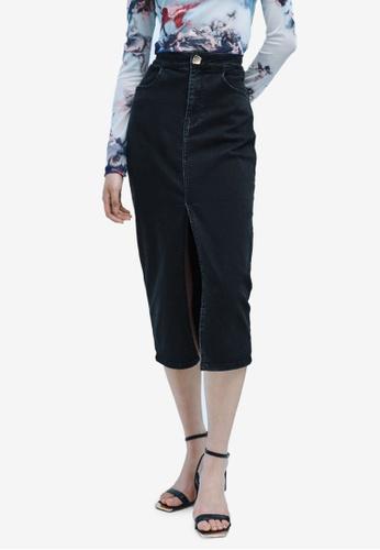URBAN REVIVO black Casual Skirt 8F891AA2AF53A8GS_1