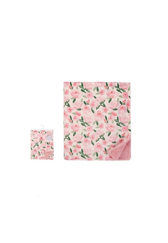 Little Kooma pink Print Mink Blanket With Sherpa Back Floral 53922CH E4256KC27F3798GS_1