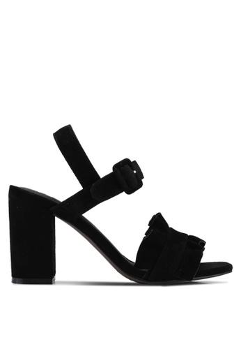 E8 by Miista 黑色 麂皮荷葉飾粗跟涼鞋 E8283SH0STIKMY_1