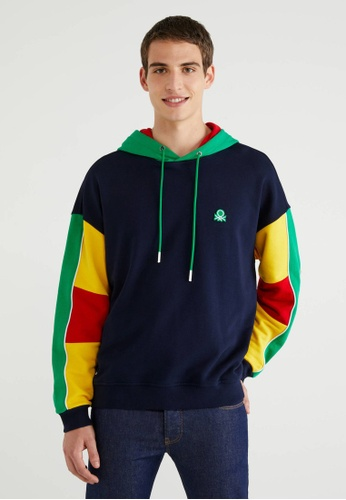 United Colors of Benetton navy Color Block Hoodie C64A9AAC49F13DGS_1