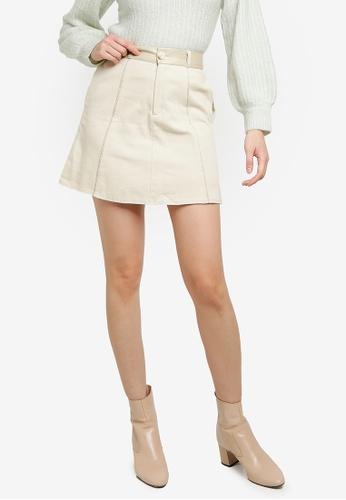 Heather white Trims Detail Woven Skirt 7747EAAB9AD276GS_1
