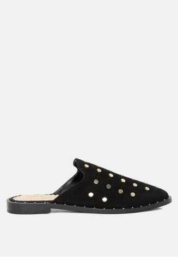 RAG & CO black Leather Mules with Metal Studs 52538SHF91D07CGS_1