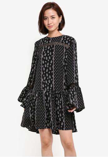ZALORA black Flare Sleeve & Hem Dress 83DBEAAB55CB74GS_1