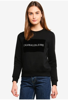 6eda4a2e7b Calvin Klein black A-Institution Flock Box Sweatshirt - Calvin Klein Jeans  F4A3CAA0AC8002GS 1