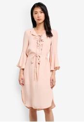 ZALORA pink Front Ruffle Dress CDA1CAADE3F08EGS_1