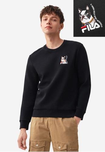 FILA black Online Exclusive Theme Printed FILA Logo Sweatshirt BEF99AAC32ED6FGS_1