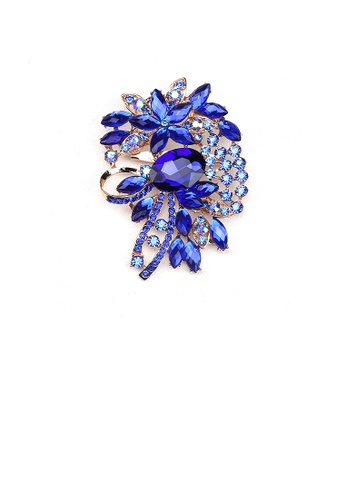 Glamorousky blue Fashion Bright Plated Gold Geometric Pattern Brooch with Blue Cubic Zirconia 8CCEAAC362F5CCGS_1