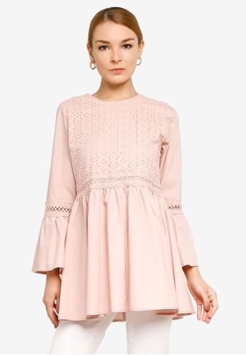 Gene Martino pink Embroidered Muslimah Top CBD61AA903D3CCGS_1