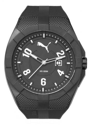 Puma black PU103501009 Iconic Black & White PU Strap Men Watch PU549AC0RJVVMY_1