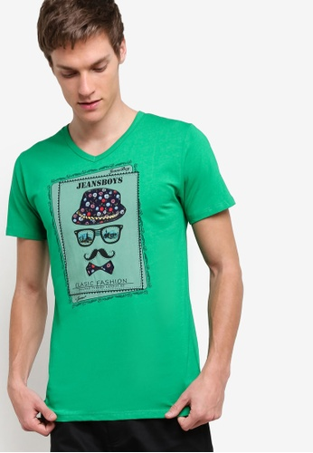 Fidelio green Jeansboy Patching V Neck Printed Tee FI826AA11MEEMY_1