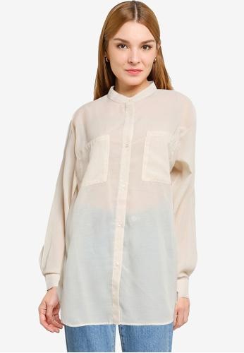 LOWRYS FARM brown Sheer Oversized Shirt 55198AA414CD00GS_1