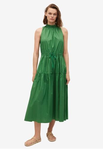 Mango green Frill Cotton Dress 323DAAA7C6C74AGS_1