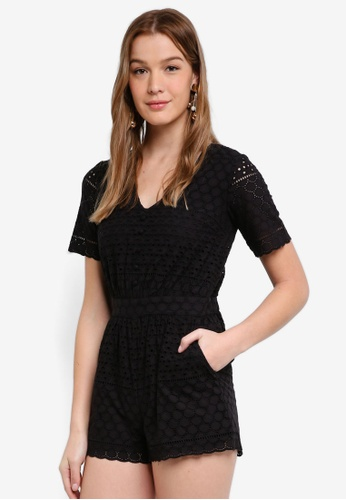 Dorothy Perkins black Black Broderie Playsuit E5191AA246F2DBGS_1