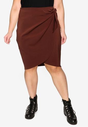 Vero Moda brown Plus Size Kakki Skirt 16454AA11AA1C1GS_1