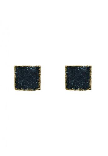 SKEDA blue Druzy Square Ear Studs 0AE61AC2C92F1BGS_1