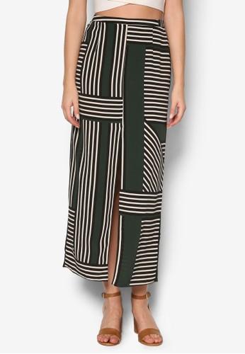 撞色條紋長裙, esprit地址服飾, 服飾
