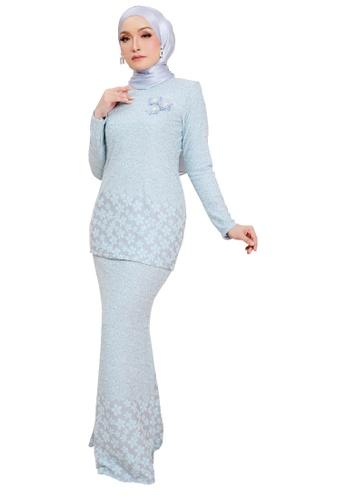 SARIMA blue Glam Kurung Modern Muslimah Fashion Stretchable Embossed Printed Baby Blue 11025AA5B367CEGS_1