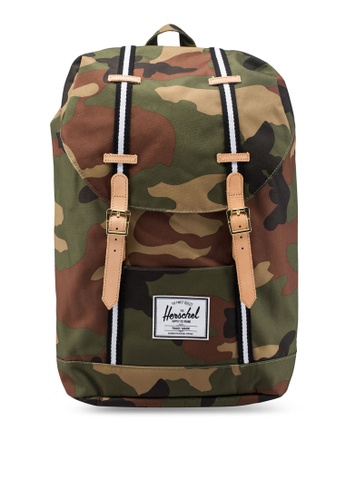 Herschel green and multi Retreat Backpack AA68FAC4A48364GS_1